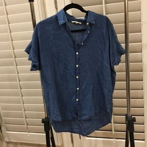 Madewell dark blue chambray blouse size medium